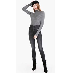 Calvin Klein Turtleneck Sweater Knit Fitted Gray